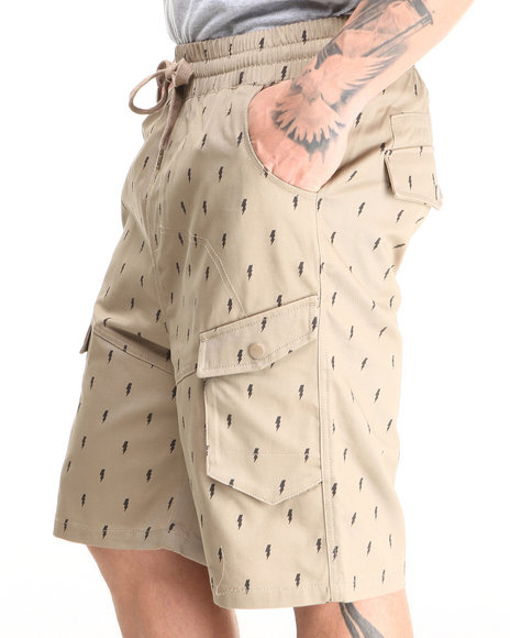 Buyers Picks - Men Khaki Lightning Bolt Printed Twill Jogger Shorts