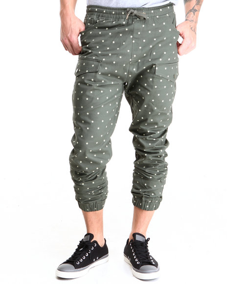 Buyers Picks - Men Green Star Pattern Twill Jogger Pants - $28.99