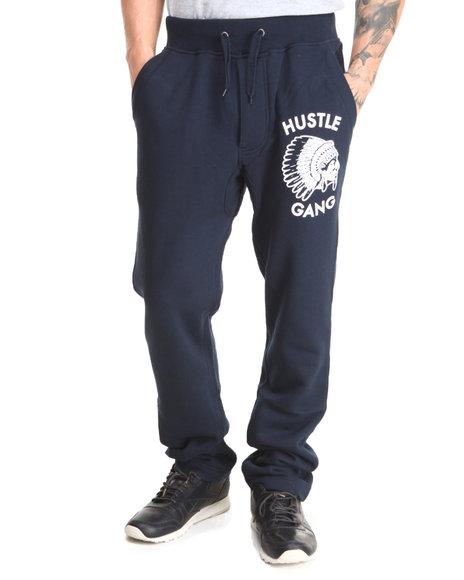 Hustle Gang Navy Head Dress Fleece Pants