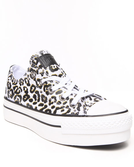 Converse White Animal Print Chuck Taylor All Star Platform Sneakers
