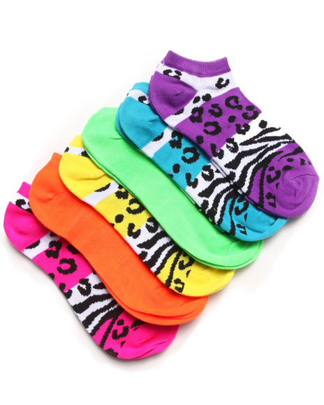 Rampage Cheetah & Zebra 6Pk No Show Socks Multi 9-11