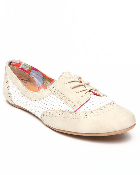Not Rated - Women Cream Perforated Colorblock Jazz Oxford