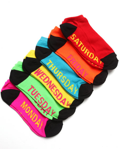 Rampage Days Of The Week 6Pk No Show Socks Multi 9-11