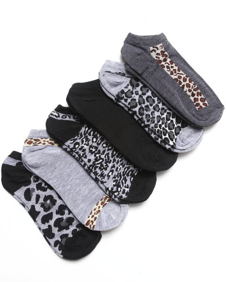 Rampage Jungle Fever 6Pk No Show Socks Black 9-11