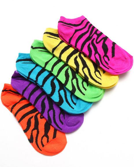 Rampage Zebra Multi 6Pk No Show Socks Black 9-11