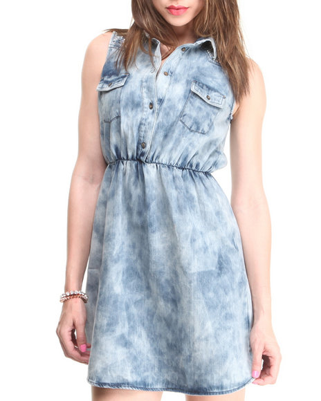 Fashion Lab - Women Light Wash Sleeveless Denim Dress W/ Cinched Waist & Embellished Shoulder Details