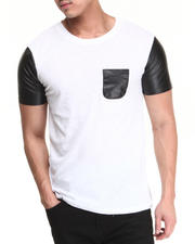 Men - Perforated Vegan Leather Blocked Crew Neck Pocket Tee