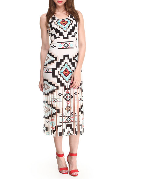 Almost Famous - Women Cream,Multi Navajo Print Fringe Hem Midi Dress