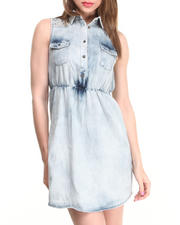 Dresses - Sleeveless Denim Dress w/ Cinched Waist & Embellished Shoulder Details