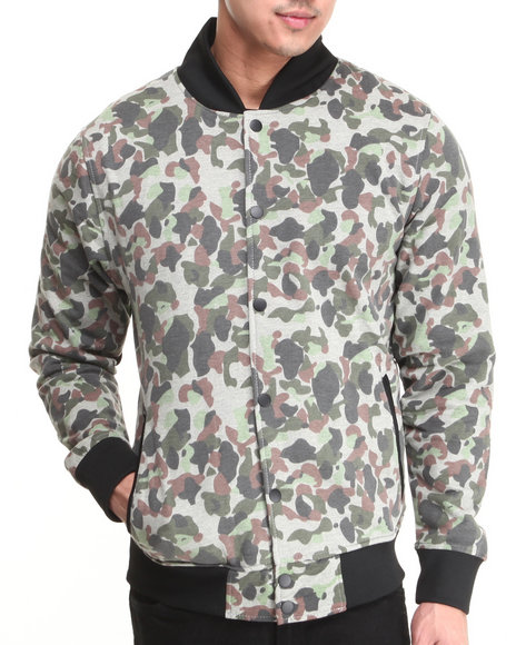 Buyers Picks - Men Camo Camo Fleece Varsity Jacket