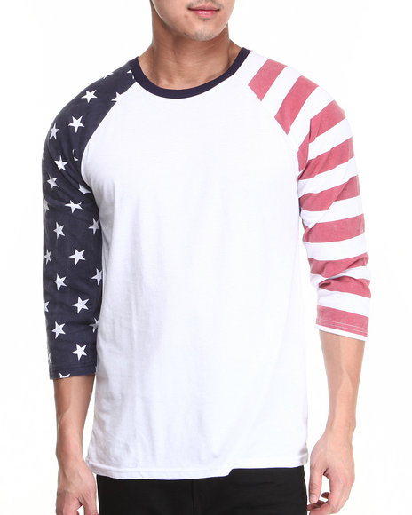 Buyers Picks - Men White American 3/4 Sleeve Raglan