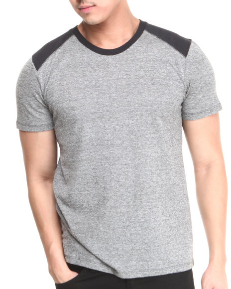 Buyers Picks - Men Grey Crew Neck Slub Tee W/ Contrast Shoulders - $12.99