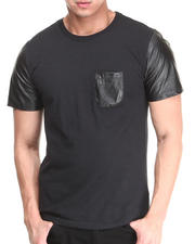 Buyers Picks - Perforated Vegan Leather Blocked Crew Neck Pocket Tee