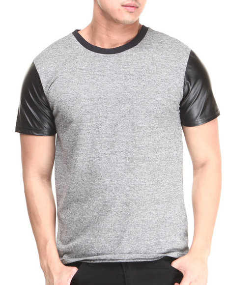 Buyers Picks - Men Grey Crew Neck Tee W/ Vegan Leather Sleeves