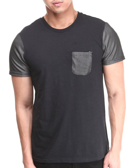 Buyers Picks - Men Black Mesh Blocked Crew Neck Tee W/ Mesh Pocket