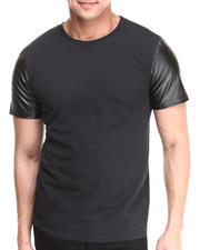 Shirts - Crew Neck Tee w/ Vegan Leather Sleeves