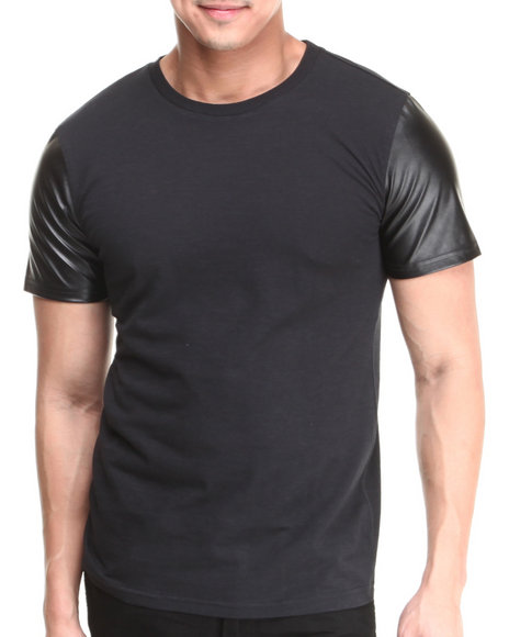 Mens Shirt with Leather Sleeves