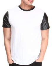T-Shirts - Crew Neck Tee w/ Vegan Leather Sleeves
