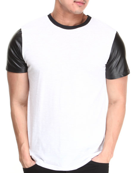 Buyers Picks - Men White Crew Neck Tee W/ Vegan Leather Sleeves