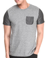 Mixed Media - Mesh Blocked Crew Neck Tee w/ Mesh Pocket