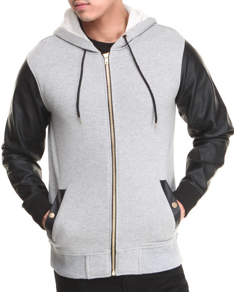 Buyers Picks - Heavy Weight Zip Up Hoodie w/ Vegan Leather Sleeves
