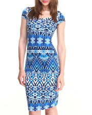 Dresses - Aztec Diamond Print Midi Dress