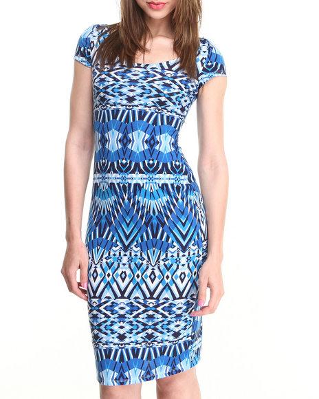 Almost Famous Blue Aztec Diamond Print Midi Dress