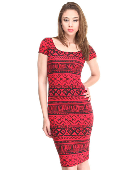 Almost Famous Black,Red Aztec Short Sleeve Midi Dress