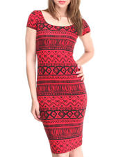Dresses - Aztec Short Sleeve Midi Dress