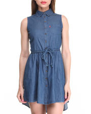 Dresses - Sleeveless Button Front Belted Dress