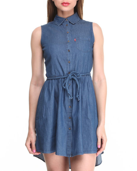 Levi's Medium Wash Sleeveless Button Front Belted Dress