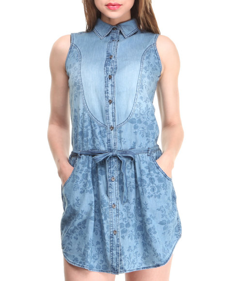 Levi's Blue Western Chambray Dress W/Yoke Belt