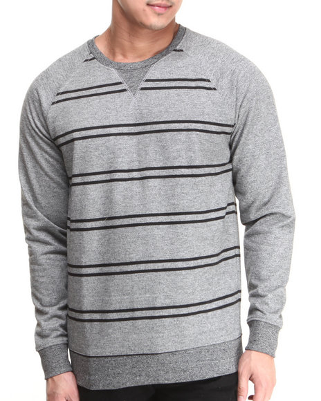 Buyers Picks - Men Grey Striped Raglan Sweatshirt