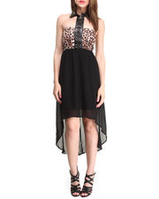 Dresses - Strapless Hi-Lo Dress w/ Collar & Exposed Front Zipper