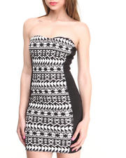 Dresses - Strapless Aztec Panel Bodycon Dress