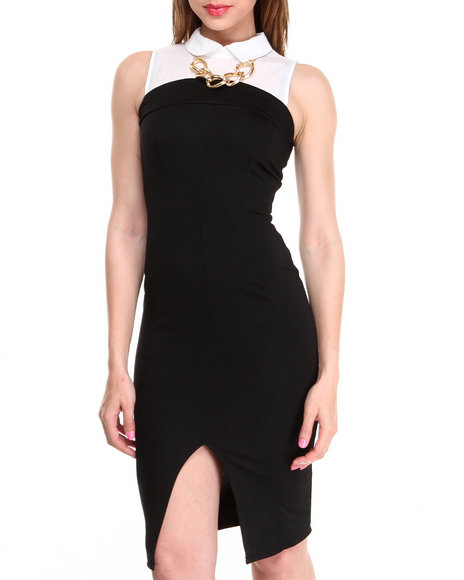 Almost Famous - Women Black,Ivory Chain Trim Front Slit Midi Dress - $28.99