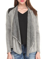 Sweaters - Long Sleeve Open Cardigan w/ Vegan Leather Shoulder Patches