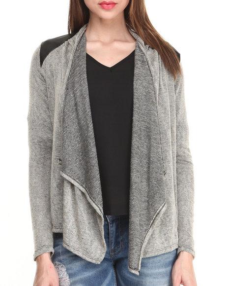 Fashion Lab - Women Grey Long Sleeve Open Cardigan W/ Vegan Leather Shoulder Patches