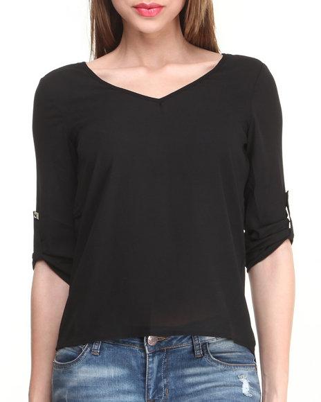 Fashion Lab - Women Black 3/4 Length Sleeves Top W/ Open Back & Shoulder Stud Details - $8.99