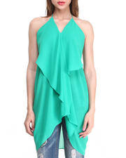 Fashion Tops - Chiffon Draped Racerback Tunic Tank