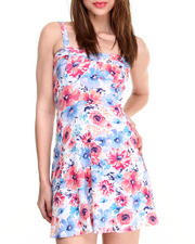 Dresses - Multi Floral Print Stretch Bustier Dress