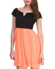 Almost Famous - Ponte Top Chiffon Bottom Dress