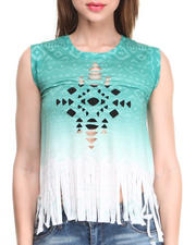Almost Famous - Cutout Ombre Fringe Muscle Top
