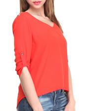 Fashion Lab - 3/4 Length Sleeves Top w/ Open Back & Shoulder Stud Details