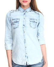Fashion Lab - Acid Wash Denim Button Down Shirt w/ Stud Details