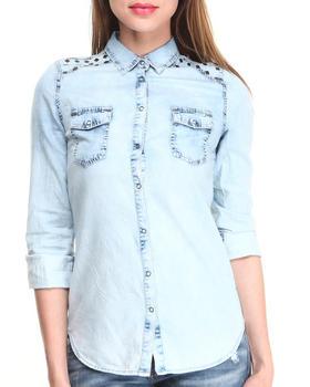 Fashion Lab - Acid Wash Denim Button Down Shirt w/ Stud Details
