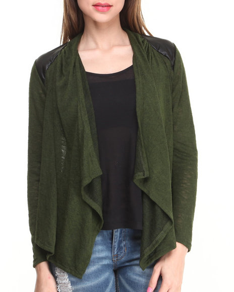Fashion Lab - Women Green Long Sleeve Open Cardigan W/ Vegan Leather Shoulder Patches