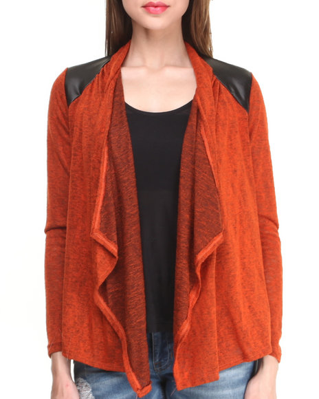Fashion Lab - Women Orange Long Sleeve Open Cardigan W/ Vegan Leather Shoulder Patches
