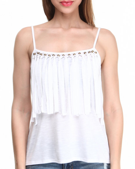 Almost Famous White Fringe Days Knit Tank
