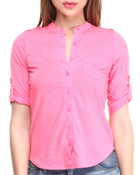 Almost Famous - Women Pink Confetti Jersey Knit Shirt - $11.99